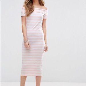 pink and white striped bardot dress